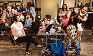 Fashion Week: Models sit for make-up and hair at The Pier at Caesars during Fashion Week. - Photo by Ben Fogletto