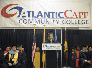 ACCC Graduation: Student Government Association President Ines E. Rosales, from Egg Harbor Township, addresses the audience during the Atlantic Cape Community Collage 47th Annual Commencement held at the college in Mays Landing Thursday, May 22, 2014. Photo/Dave Griffin - Dave Griffin