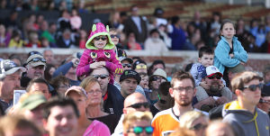 Day At The Races: Crowd watches the horses for the next race parade in the circle. Sunday April 27 2014 Live turf racing at the Atlantic City Racecourse in Mays Landing. (The Press of Atlantic City / Ben Fogletto) - Ben Fogletto