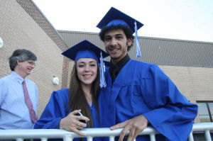 CHARTER TECH GRADUATION: Veronica Mucciarone, 18 of Margate and Louis DiBono, 17 of Brigantine take part in Charter Tech High School Graduation at Margate Performing Arts Center Friday, June 21, 2013.  - Photo by Edward Lea