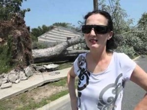 Christine Rake and her downed tree