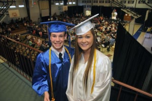 Cumberland Christian Graduation: Thomas Riggins, 17, from Vineland, and Lexi Smith, 18, from Vineland, gather for the camera during Cumberland Christian School's Graduation ceremony held at Cumberland Christian School in Vineland Friday, June 14, 2013. Photo/Dave Griffin  - Photo by John David Griffin