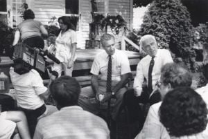Hughes.jpg: July 7, 1986. U.S. Rep. William Hughes, D-NJ, District 2, and U.S. Sen. Lautenberg, D-NJ, talk with farmers in Cumberland County. Hughes served in the House from 1975-1995.