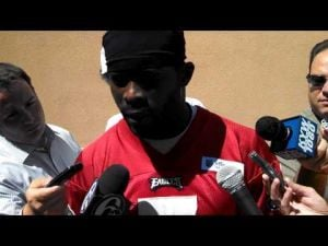 Michael Vick talks at Wednesday's mini camp