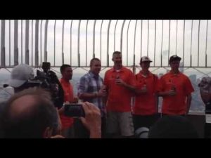 Mike Trout meets with Millville baseball players in New York