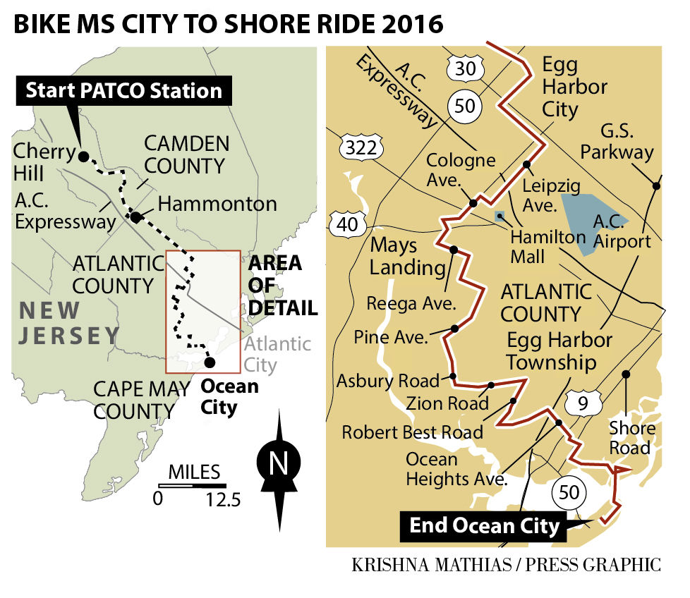 Bike MS City to Shore Ride 2016 map 9-2016