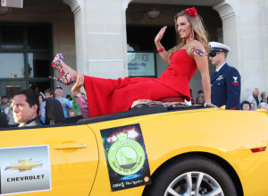 Miss America Parade: Miss Colorado Meg Kardos in the Miss America Show Us Your Shoes parade on the Boardwalk in Atlantic City. - Vernon Ogrodnek