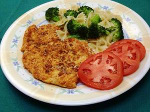 Chicken breasts get a nice crunch from pecans