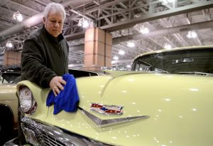 Ac Car Show: Car owner, Tony Averso, of Ortley Beach, N.J., polishes up his 1956 Chevrolet Bel Aire Nomad, just one of 14 cars Averso has in the show. Cars begin to arrive at the Atlantic City Convention Center for the AC Car Show. Wednesday, February, 27, 2013( Press of Atlantic City/ Danny Drake)  - Danny Drake
