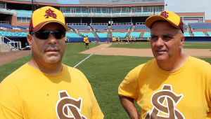Atlantic Shore Babe Ruth: Coaches Joe Iannuzzelli of Ventnor (left) and Bill Rauzzino of Somers Points will be leading the team in this year's tournament. Jack Taggart of Northfield (not pictured) is also a coach. Atlantic Shore Babe Ruth baseball team, will be hosting the Mid-Atlantic Regional Tournament at the Sandcastle in Atlantic City. The tournament starts on Thursday. Wednesday July 31, 2013(Dale Gerhard Photo/Press of Atlantic City) - Dale Gerhard