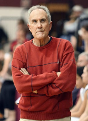 : Wildwood High School girls basketball coach Dave Troiano won his 600th career coaching victory in a win against Cape May County Technical High School. Troiano paces the sideline during the game. Tuesday Jan. 29, 2013. (Dale Gerhard/Press of Atlantic City)  - Photo by Dale Gerhard