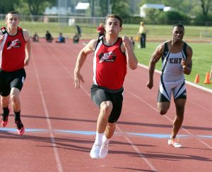 Atlantic County Track And Field Championships: St. Joe's Rocco Ordille places first in 100 mm during Atlantic County track and field championships at Buena Regional High School Thursday, May, 8, 2014. - Edward Lea