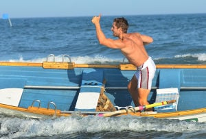 Tri-Resorts: Upper's Pat Scannaplieco signals thumbs up after finishing the Singles Row. Monday July 15 2013 Tri-Resorts Lifeguard Championships in Strathmere. (The Press of Atlantic City / Ben Fogletto) - Ben Fogletto