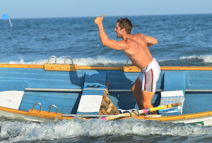 Tri-Resorts: Upper's Pat Scannaplieco signals thumbs up after finishing the Singles Row. Monday July 15 2013 Tri-Resorts Lifeguard Championships in Strathmere. (The Press of Atlantic City / Ben Fogletto) - Photo by Ben Fogletto