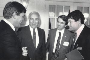 Lautenberg14.jpg: May 1, 1988. Left to right, State Sen. Bill Gormley; U.S. Sen. Frank Lautenberg, D-N.J.; Ed Salmon, Cumberland County freeholder; and State Assemblyman Robert Singer of Lakewood, at Rams Head Inn, Galloway Township.