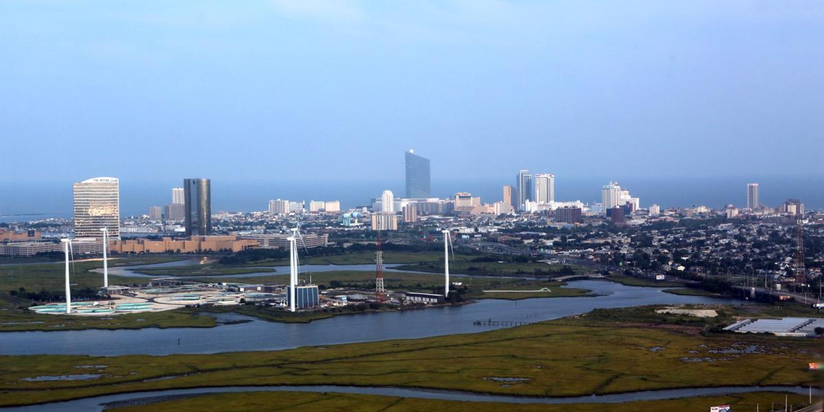 aerial atlantic city skyline breaking lighting set