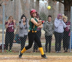 OLMA Softball: Sara Musial #6 of Our Lady of Marcy Academy gets a base hit against Plesasantville during softball game at Our Lady of Marcy Academy High School Tuesday, April 8, 2014. - Edward Lea
