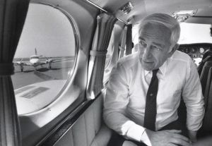 Lautenberg15.jpg: April 28, 1987. U.S. Sen. Frank Lautenberg, D-N.J., looks out the window of a plane at Bader Field in Atlantic City, where part of his press conference on air traffic controllers was held.