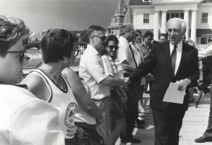 Lautenberg18.jpg: September 5, 1991. U.S. Sen Frank Lautenberg, D-N.J., greets Cape May and Cape May Point residents at Trenton Avenue Beach on Thursday afternoon.