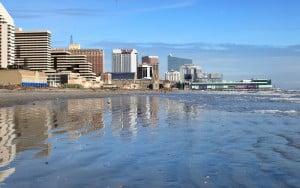 Atlantic City Skyline: The Atlantic City skyline, casinos, beach, Thursday Nov 8. 2012,  - Vernon Ogrodnek