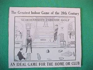 Antiques & Collectibles: North Wildwood Reader's Schoenhut Parlor Golf Game Still Has Player Appeal: This art was used to illustrate a pamphlet included with the Schoenhut Indoor Golf Game, a popular pastime during the 1920s. Original and enhanced boxed games, complete and in mint to excellent condition presently sell for $1,350 to $2,400 as they are quite rare.