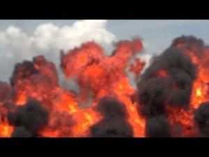 Explosives demo at Bader Field