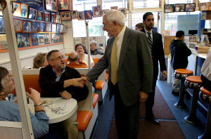 Lautenberg: Sen. Frank Lautenberg (center) shakes hands with Bob McCreanor at White House Subs in Atlantic City -- U.S. Sen. Frank Lautenberg campaigns for reelection in Atlantic City Tuesday October 7 2008. (The Press of Atlantic City / Ben Fogletto)  - Ben Fogletto