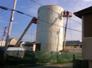Water Tower: What was left of the Ocean City water tower at about 6 p.m. Thursday  - Joel Landau