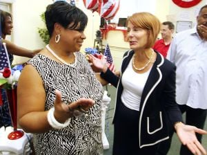 Buono In AC: Nynell Langford of Atlantic City , left talk with Barbara Buono right Democratic Candidate running for governor of New Jersey as she visit Mayor Lorenzo Langford headquarters in Atlantic City Saturday, Sept 7, 2013. - Edward Lea