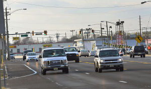 WAC BHP: Cars head eastbound on the Black Horse Pike at Athens Avenue in West Atlantic City on Monday.  - Ben Fogletto