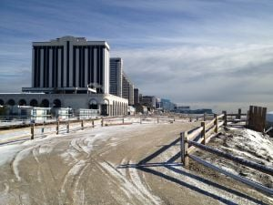 Snow On The Atlantic City Beach: Snow on the sand near the Boardwalk at Albany Avenue in Atlantic City.  - Photo by Edward Lea