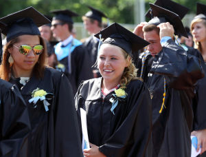 LCMR Graduation: Graduates enter the field for the ceremony during the Lower Cape May Regional High School graduation. Friday June 20, 2014. (Dale Gerhard/Press of Atlantic City) - Dale Gerhard