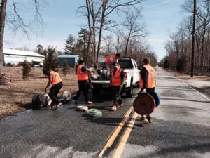 Workers test Estell Manor Volunteer Fire Department hoses