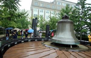 """""""Freedom ring"""" bell-ringing ceremony at the Civil Rights Garden in Atlantic City"""