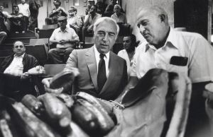 Lautenberg115.jpg: August 22, 1985. U.S. Sen. Frank Lautenberg, D-N.J., and Charles Bylone, president of Vineland Produce Auction, look over produce on the block during a tour of the auction.