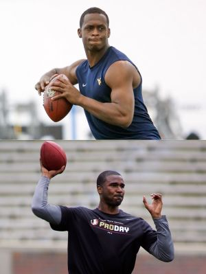 Quarterbacks: West Virginia's Geno Smith, top, and Florida State's EJ Manuel are two possibilities if the Eagles decide to draft a quarterback this year.
