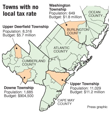 Towns with no local tax rate
