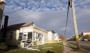 : A home on Glenwood Ave in West Widwood, suffered moderate flood damage. Residents of Cape May County deal with the clean-up in the wake of Hurricane Sandy. Wednesday Oct. 31, 2012. (Dale Gerhard/Press of Atlantic City)  - Photo by Dale Gerhard