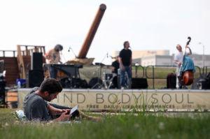 Artandmusic: Patrick Judd, 24, of Atlantic City, listens to the Jost Project perform Wednesday at Artlantic: Wonder in Atlantic City. - Press photo by Sean M. Fitzgerald