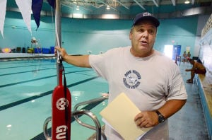 SWIM CLASSES: Instructor Dave Demarest of Galloway talks about the program. Monday July 15 2013 Swimming lessons at the pool of the Martin Luther King School Complex in Atlantic City. (The Press of Atlantic City / Ben Fogletto) - Ben Fogletto