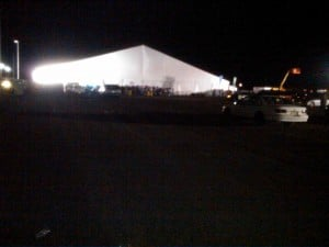 Bader Field Rave: A giant heated tent at Bader Field will house 6,000 revelers New Year's Eve.  - JOEL LANDAU