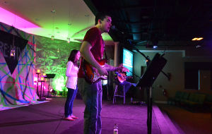 Easter Music: Matt Kerms of Northfield (front) plays inspirational music with 'Redefined' at the New Covnenant Community Church in Somers Point. Saturday March 16 2013 (The Press of Atlantic City / Ben Fogletto)  - Ben Fogletto