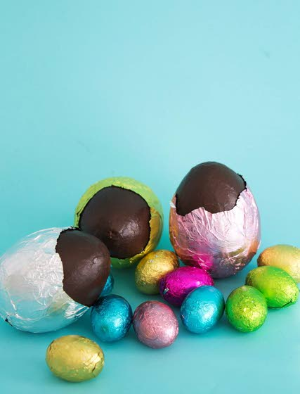 Decorate for the holiday  with faux chocolate eggs