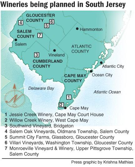 A map of proposed wineries in South Jersey