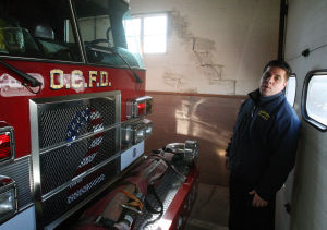 Leveraging The Storm: Ocean City Deputy Fire Chief Jim Smith saysfire trucks, ambulances and equipment are still stored at Fire Station No. 2.  - Dale Gerhard