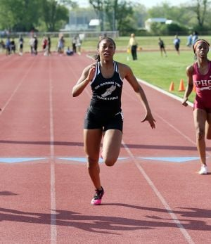 Atlantic County Track And Field Championships: Egg Harbor Township's Amber Jenkins places first in 100 mm during Atlantic County track and field championships at Buena Regional High School Thursday, May, 8, 2014. - Edward Lea