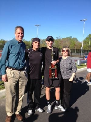 CAL Tennis Final: Jeremy Novick, second from right, with dad Scott, coach Matt Gilbert and mom Sandra.