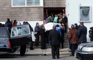 Mack Funeral: The casket is carried from the church after the service Thursday at Shiloh Temple Apostolic Church in Atlantic City for Derreck Mack, 18, who was fatally shot by police Dec.17 in Atlantic City.