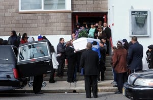 Mack Funeral: The casket is carried from the church after the service Thursday at Shiloh Temple Apostolic Church in Atlantic City for Derreck Mack, 18, who was fatally shot by police Dec. 17 in Atlantic City.  - Danny Drake