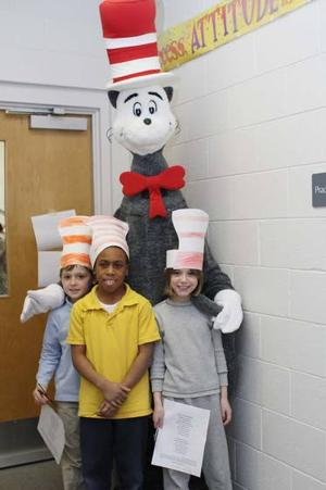 Dr. Seuss' trickster, the Cat in the Hat, visits third-graders to promote reading
